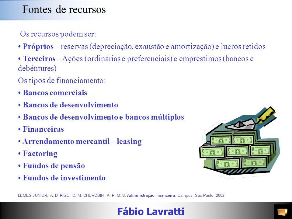 Fontes de recursos Os recursos podem ser: