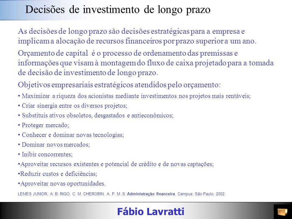 Decisões de investimento de longo prazo