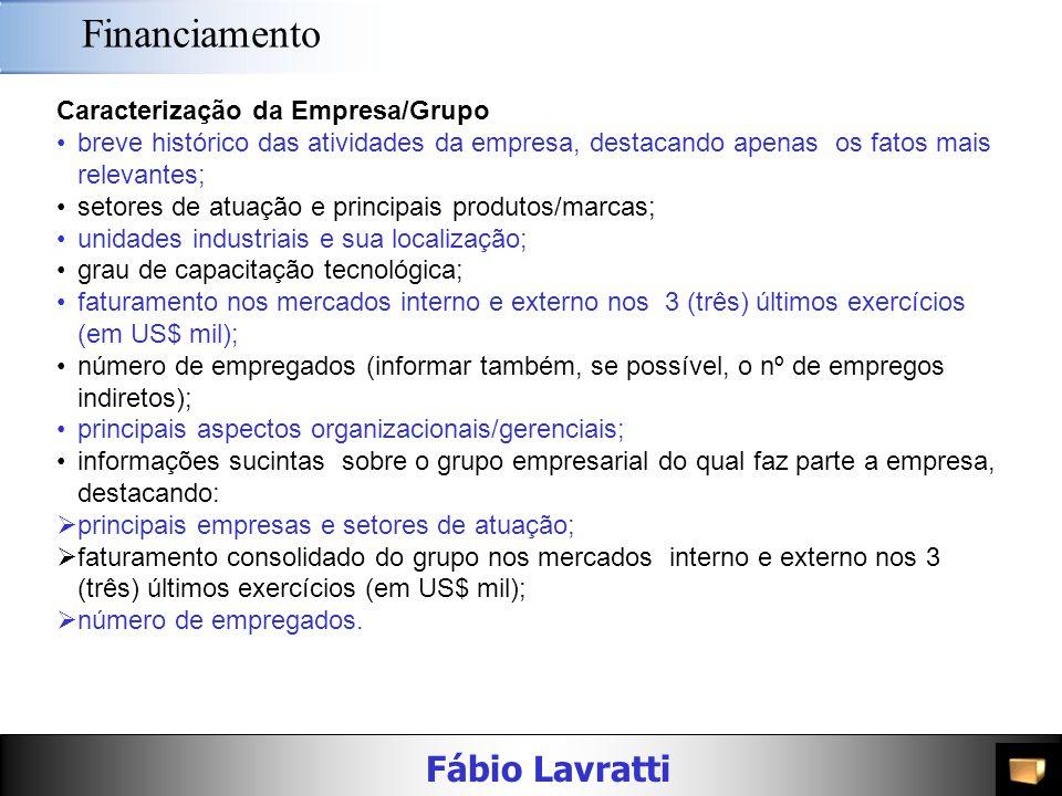Financiamento Caracterização da Empresa/Grupo