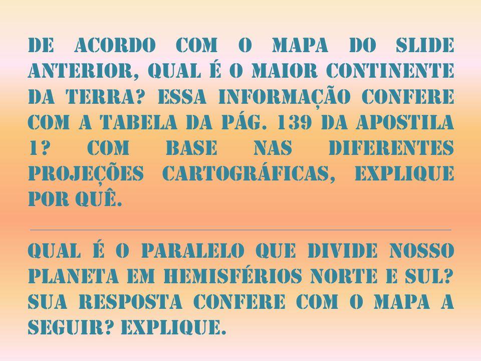 De acordo com o mapa do slide anterior, qual é o maior continente da terra Essa informação confere com a tabela da pág. 139 da apostila 1 Com base nas diferentes projeções cartográficas, explique por quê.