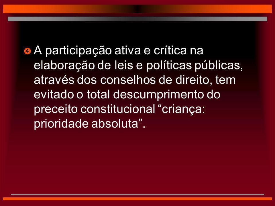 A participação ativa e crítica na elaboração de leis e políticas públicas, através dos conselhos de direito, tem evitado o total descumprimento do preceito constitucional criança: prioridade absoluta .