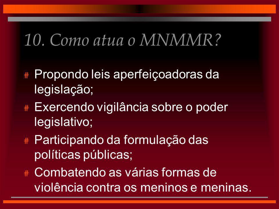 10. Como atua o MNMMR Propondo leis aperfeiçoadoras da legislação;