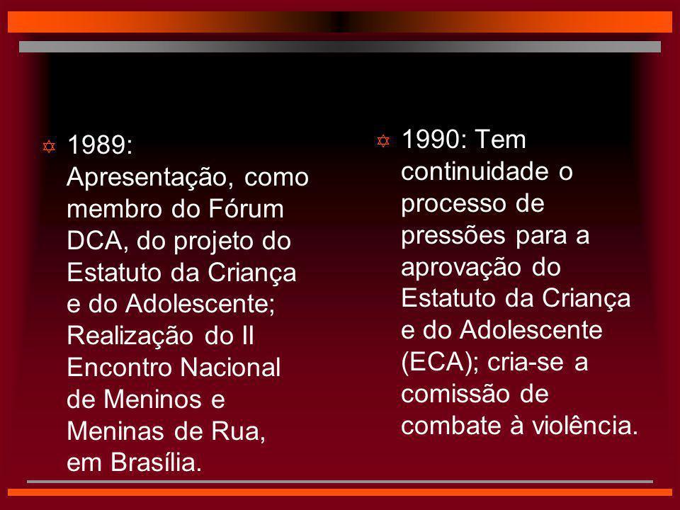 1990: Tem continuidade o processo de pressões para a aprovação do Estatuto da Criança e do Adolescente (ECA); cria-se a comissão de combate à violência.