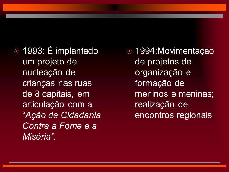 1993: É implantado um projeto de nucleação de crianças nas ruas de 8 capitais, em articulação com a Ação da Cidadania Contra a Fome e a Miséria .