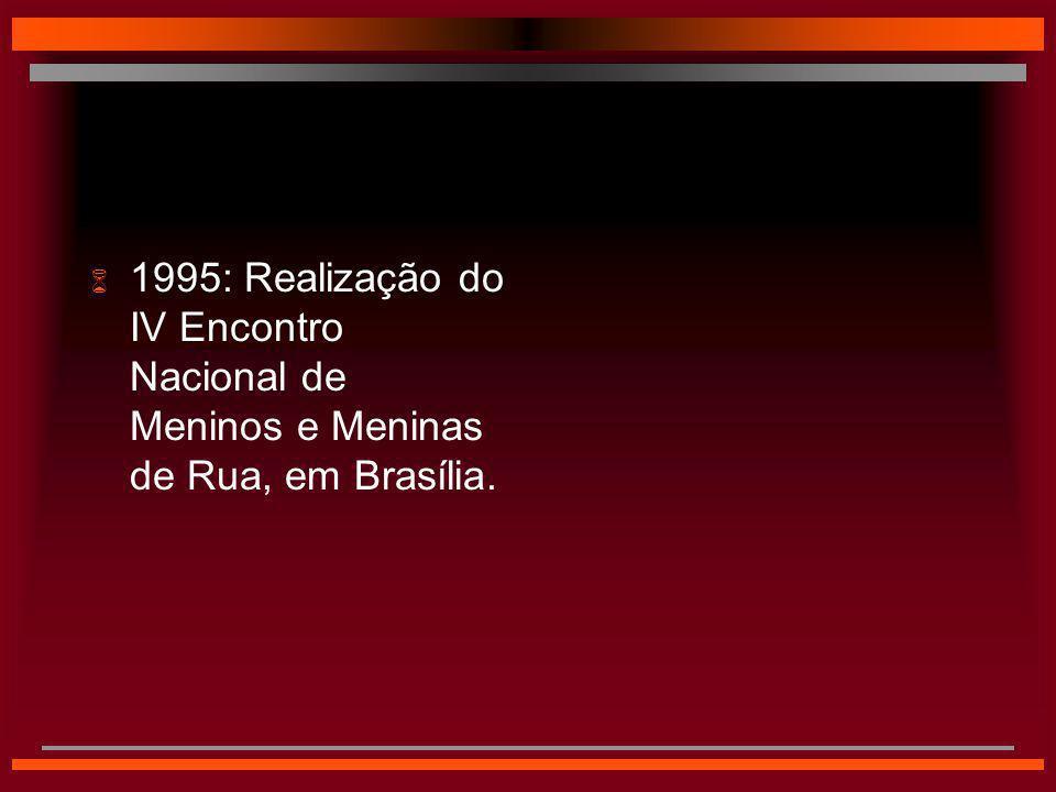 1995: Realização do IV Encontro Nacional de Meninos e Meninas de Rua, em Brasília.