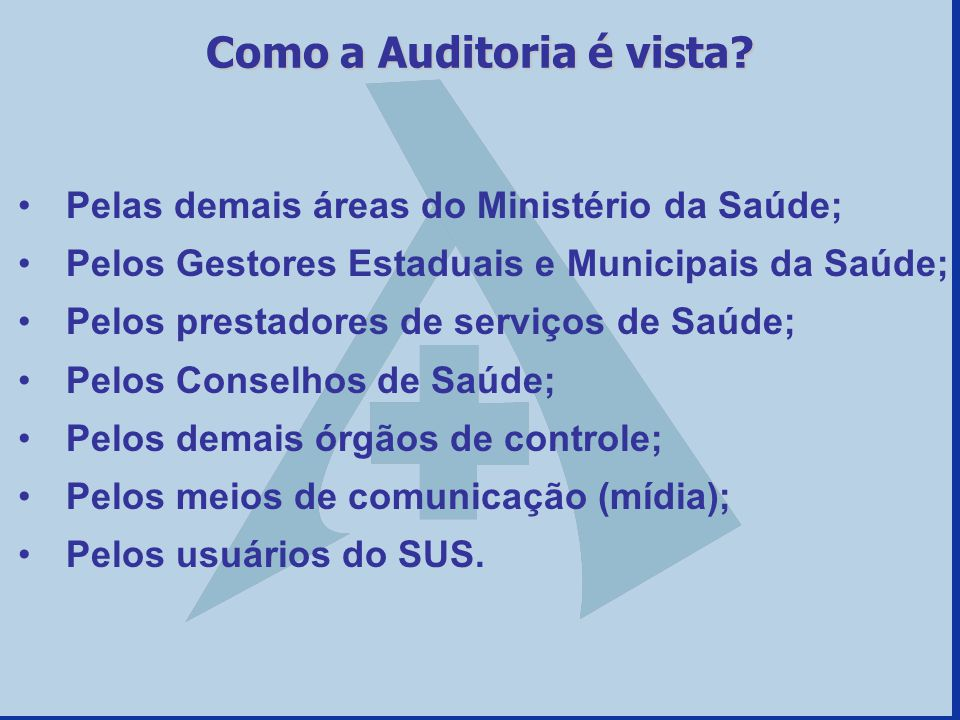 Como a Auditoria é vista