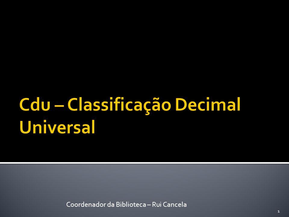 Cdu – Classificação Decimal Universal
