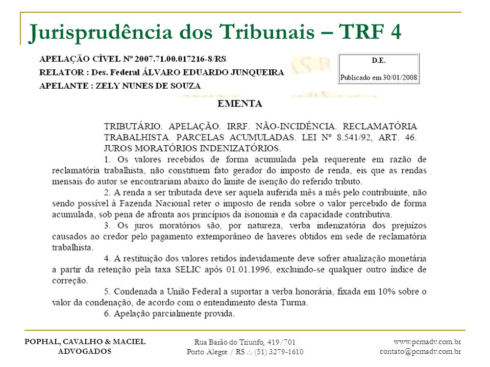 Jurisprudência dos Tribunais – TRF 4