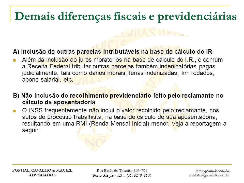 Demais diferenças fiscais e previdenciárias