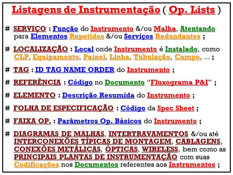 Listagens de Instrumentação ( Op. Lists )