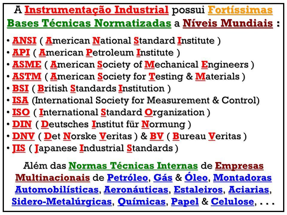 A Instrumentação Industrial possui Fortíssimas