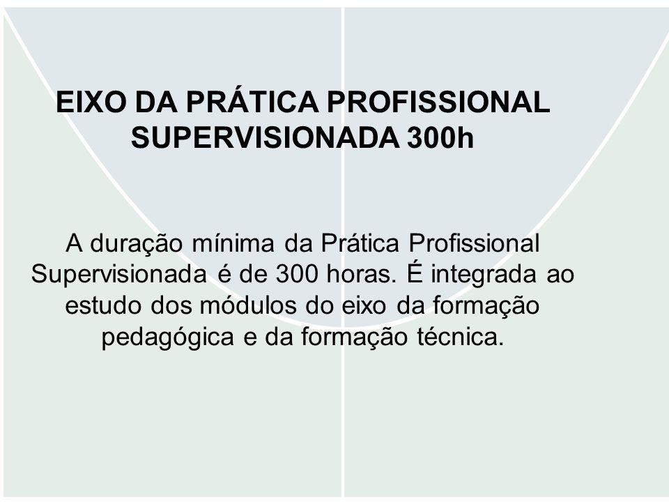 EIXO DA PRÁTICA PROFISSIONAL SUPERVISIONADA 300h A duração mínima da Prática Profissional Supervisionada é de 300 horas.