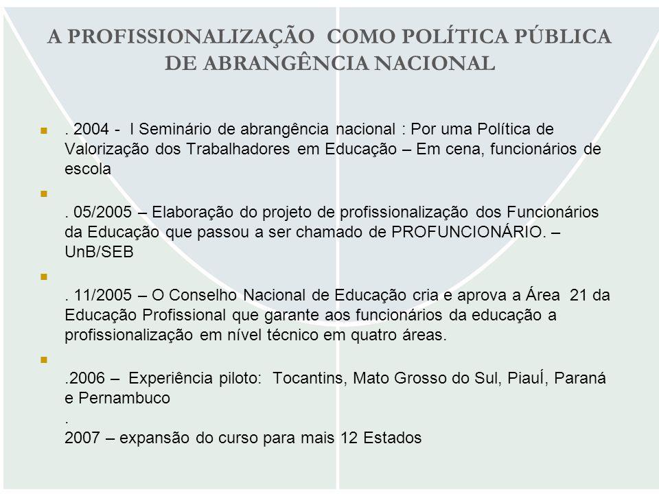 A PROFISSIONALIZAÇÃO COMO POLÍTICA PÚBLICA DE ABRANGÊNCIA NACIONAL