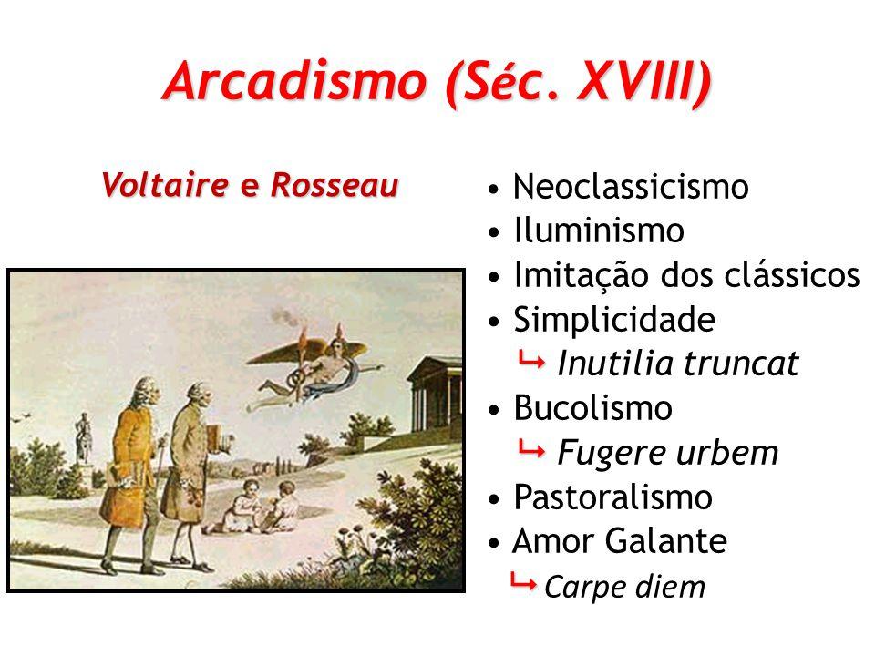 Arcadismo (Séc. XVIII) Iluminismo Imitação dos clássicos Simplicidade