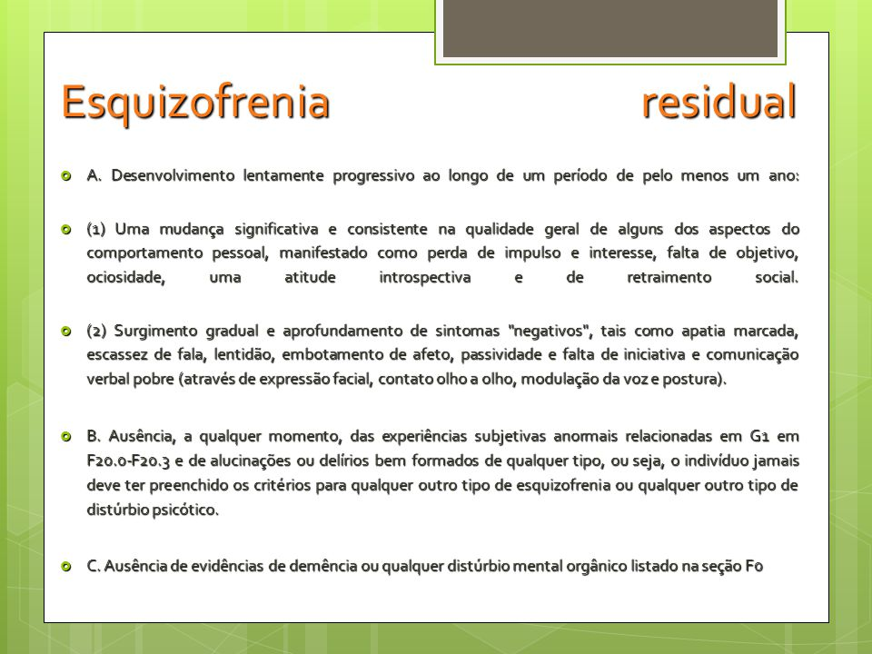 Esquizofrenia residual