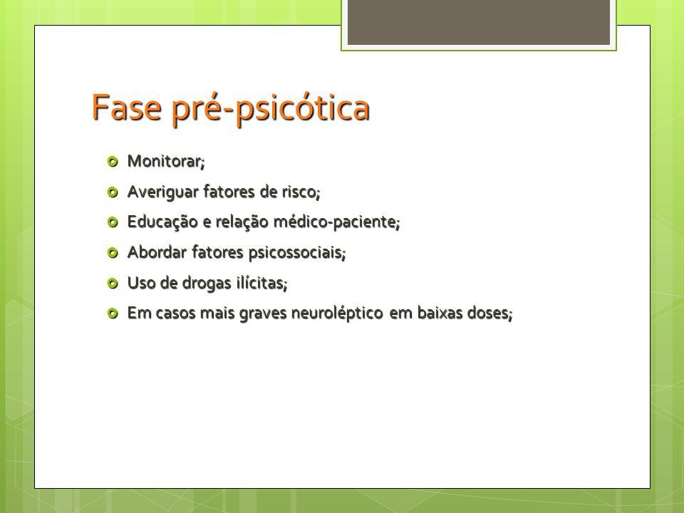 Fase pré-psicótica Monitorar; Averiguar fatores de risco;