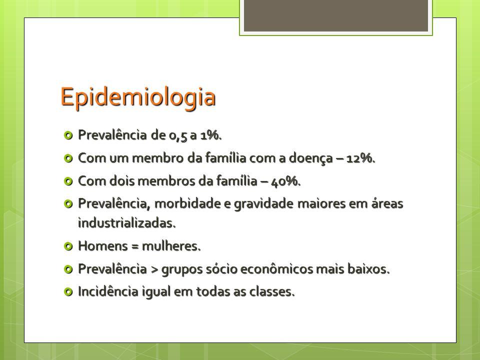 Epidemiologia Prevalência de 0,5 a 1%.