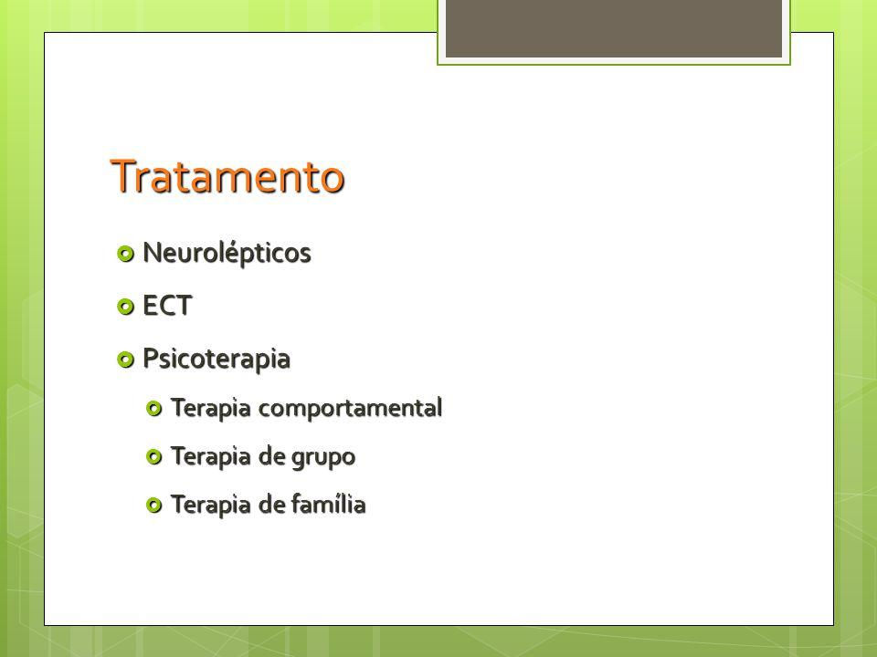 Tratamento Neurolépticos ECT Psicoterapia Terapia comportamental