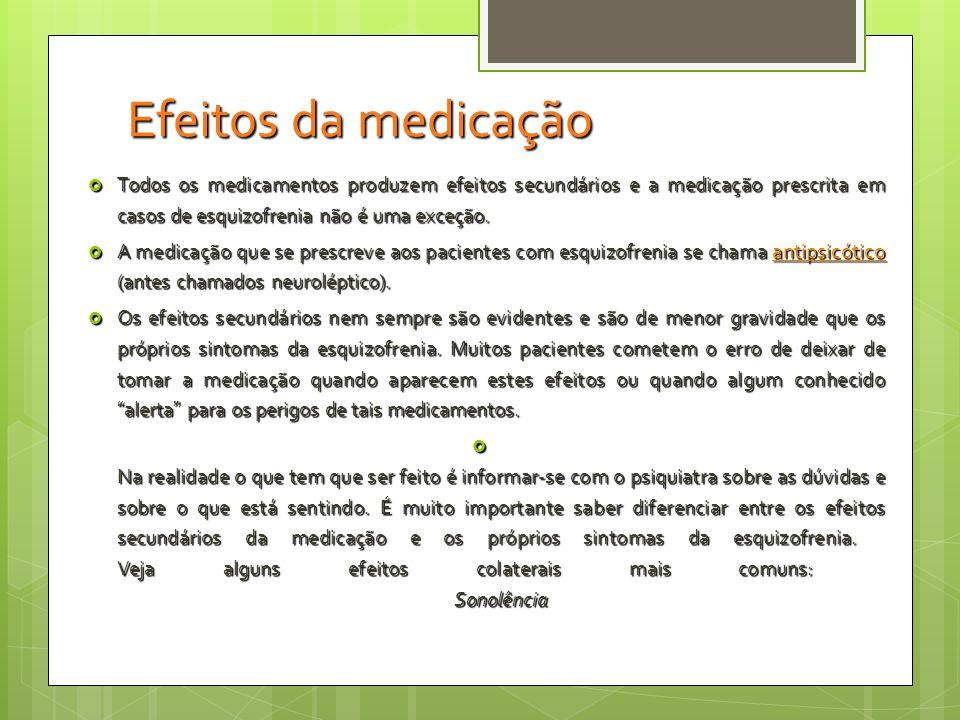 Efeitos da medicação Todos os medicamentos produzem efeitos secundários e a medicação prescrita em casos de esquizofrenia não é uma exceção.