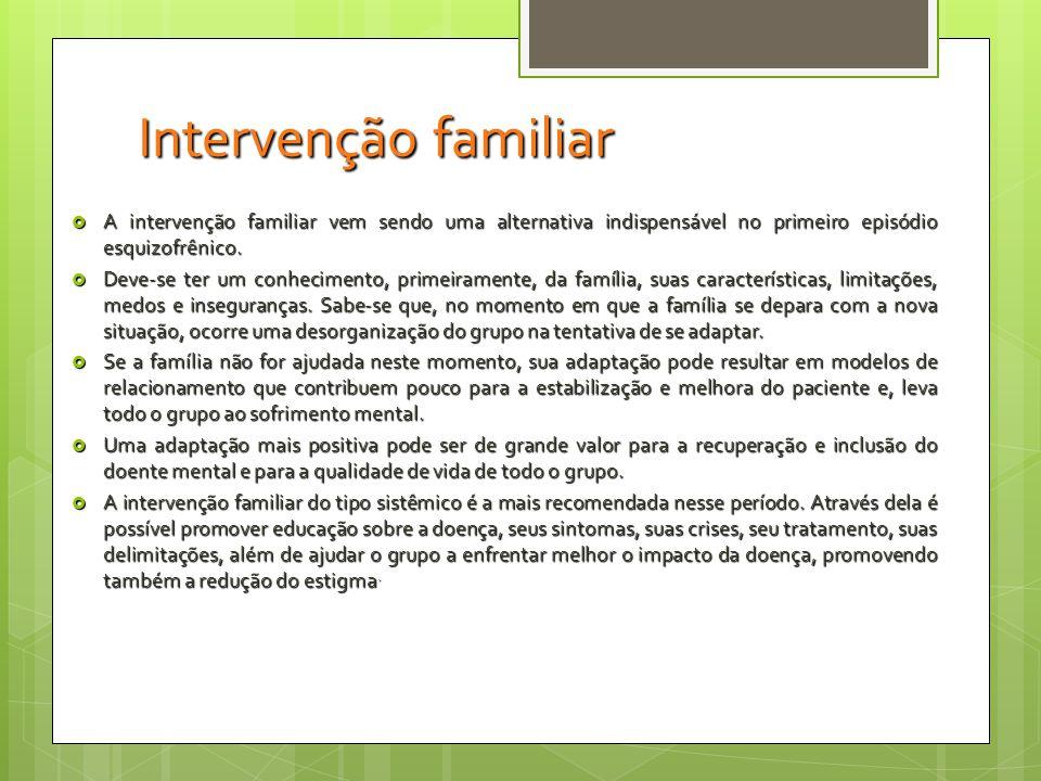 Intervenção familiar A intervenção familiar vem sendo uma alternativa indispensável no primeiro episódio esquizofrênico.