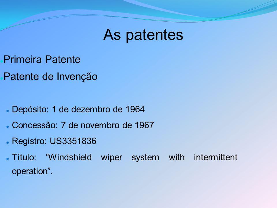 As patentes Primeira Patente Patente de Invenção