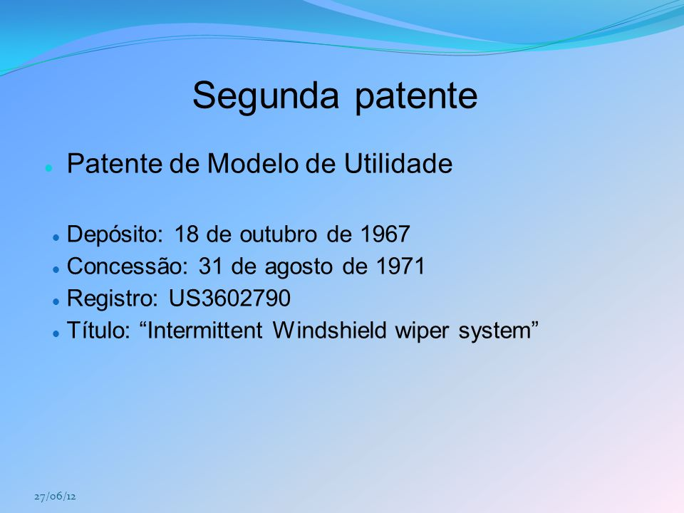 Segunda patente Patente de Modelo de Utilidade