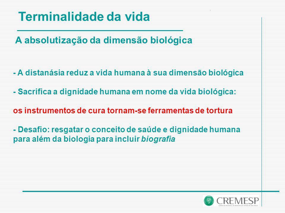 Terminalidade da vida A absolutização da dimensão biológica