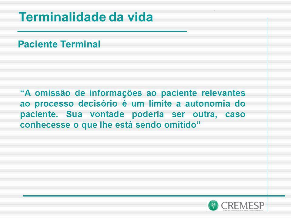 Terminalidade da vida Paciente Terminal