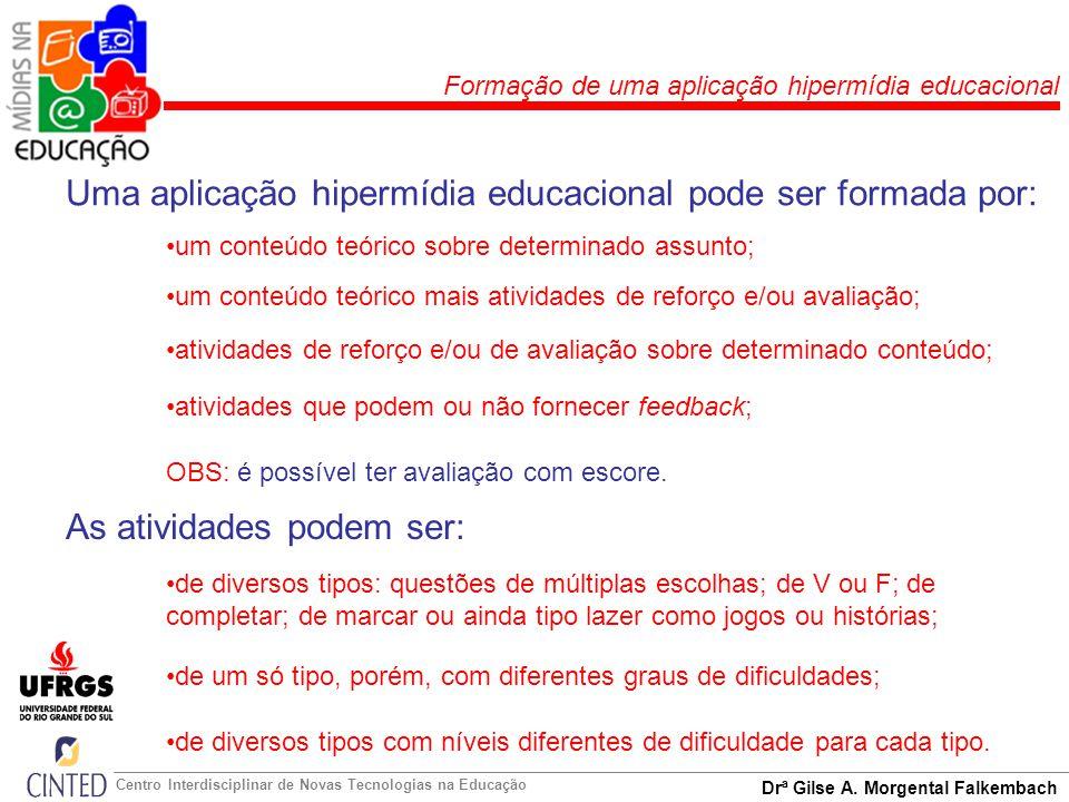 Uma aplicação hipermídia educacional pode ser formada por: