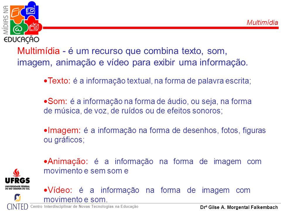 Multimídia Multimídia - é um recurso que combina texto, som, imagem, animação e vídeo para exibir uma informação.