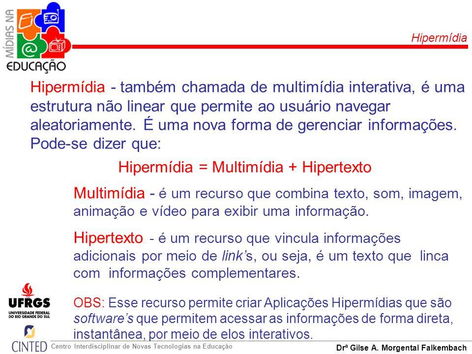 Hipermídia = Multimídia + Hipertexto