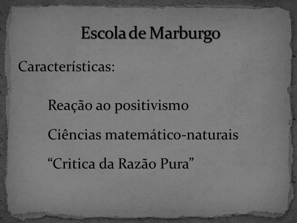 Escola de Marburgo Características: Reação ao positivismo Ciências matemático-naturais Critica da Razão Pura