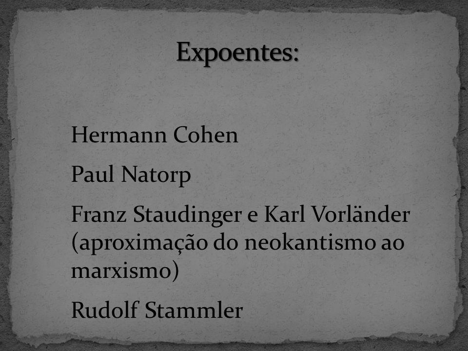 Expoentes: Hermann Cohen Paul Natorp Franz Staudinger e Karl Vorländer (aproximação do neokantismo ao marxismo) Rudolf Stammler