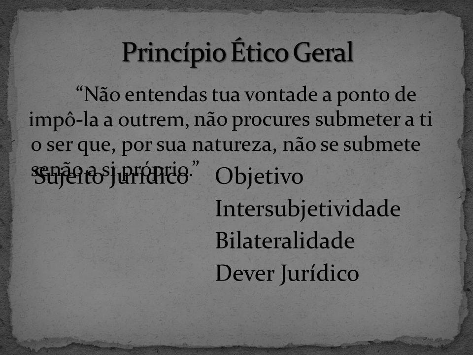 Princípio Ético Geral Sujeito Jurídico Objetivo Intersubjetividade