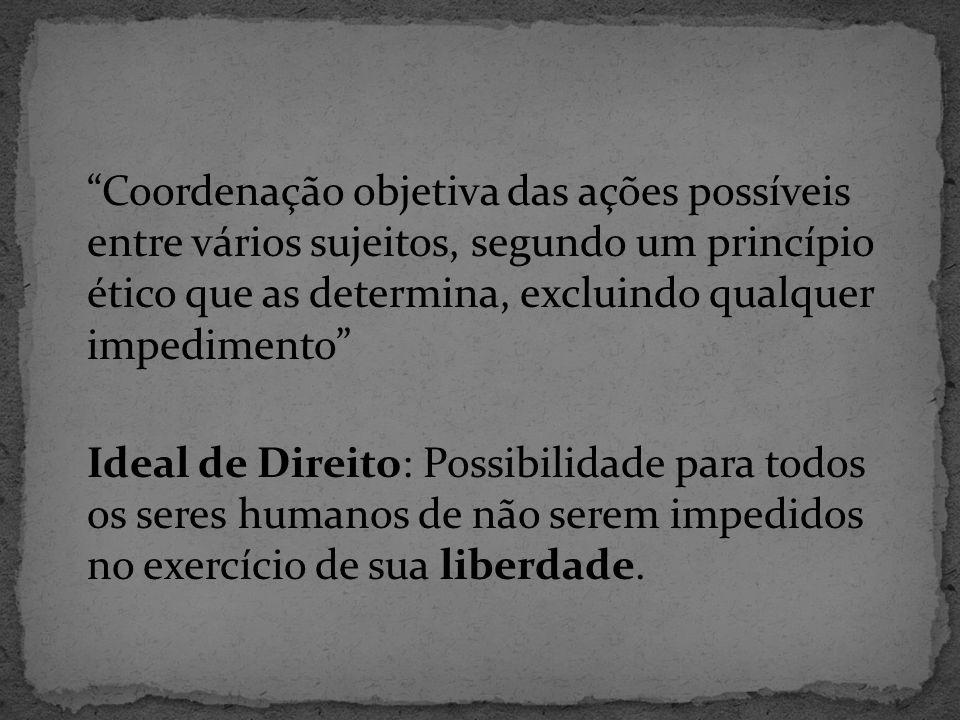 Coordenação objetiva das ações possíveis entre vários sujeitos, segundo um princípio ético que as determina, excluindo qualquer impedimento