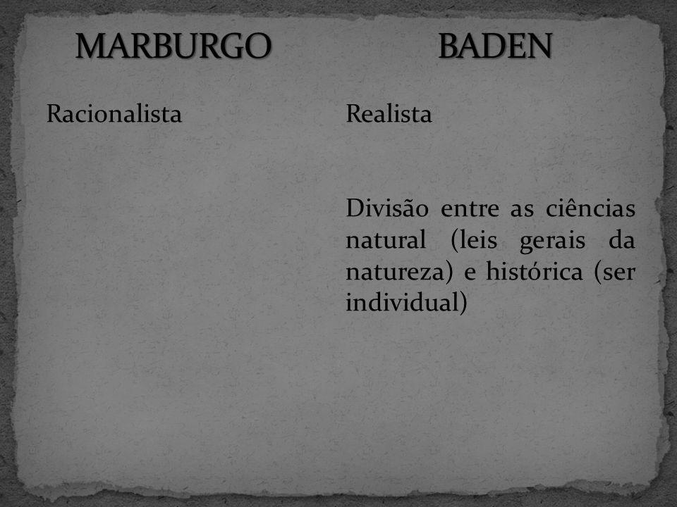 MARBURGO BADEN Realista Racionalista