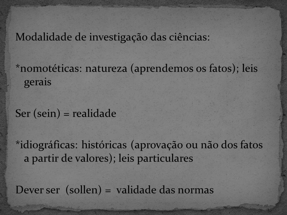 Modalidade de investigação das ciências: