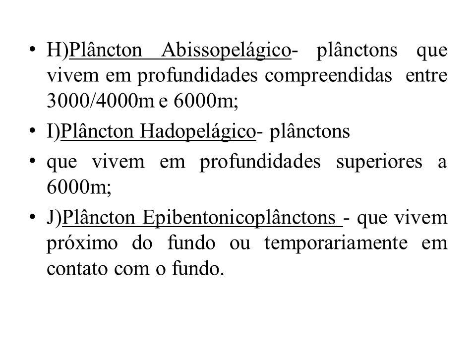 H)Plâncton Abissopelágico- plânctons que vivem em profundidades compreendidas entre 3000/4000m e 6000m;