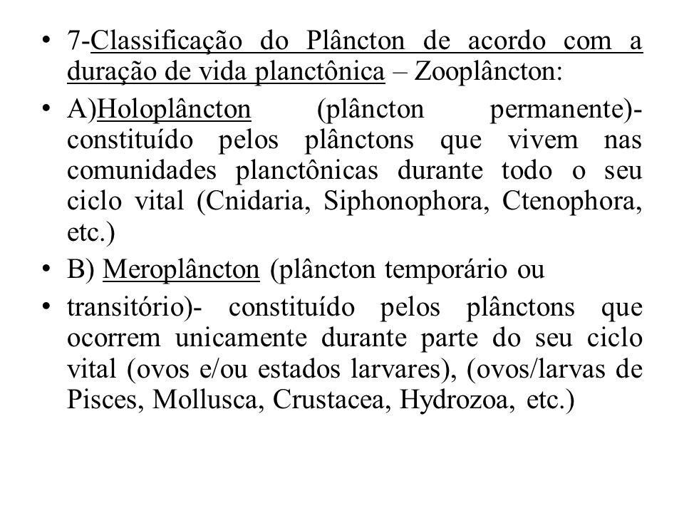 7-Classificação do Plâncton de acordo com a duração de vida planctônica – Zooplâncton: