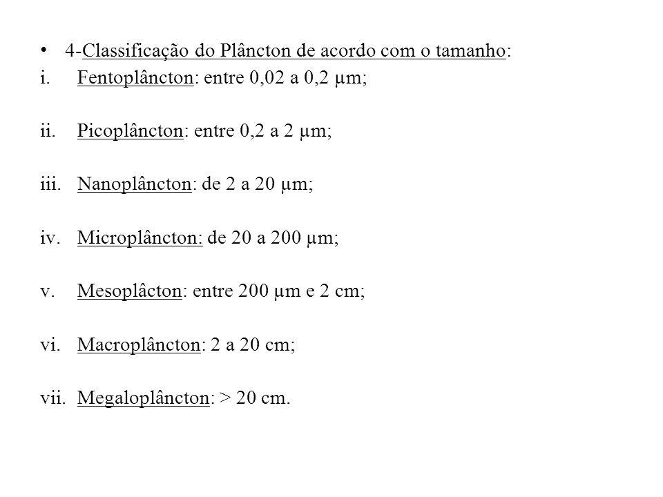 4-Classificação do Plâncton de acordo com o tamanho: