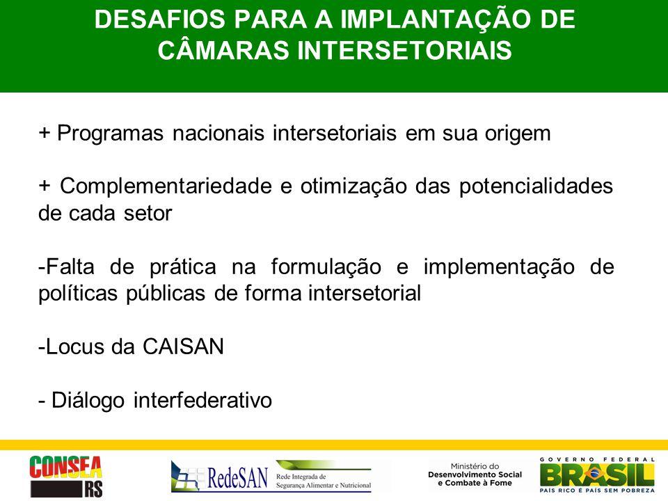 DESAFIOS PARA A IMPLANTAÇÃO DE CÂMARAS INTERSETORIAIS