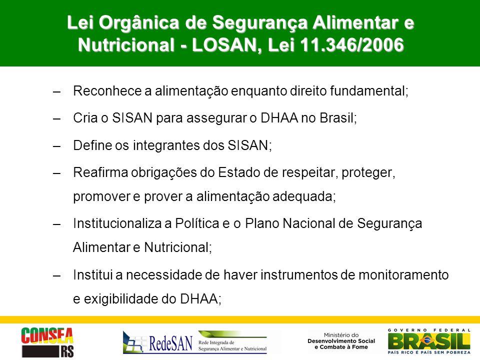 Lei Orgânica de Segurança Alimentar e Nutricional - LOSAN, Lei 11