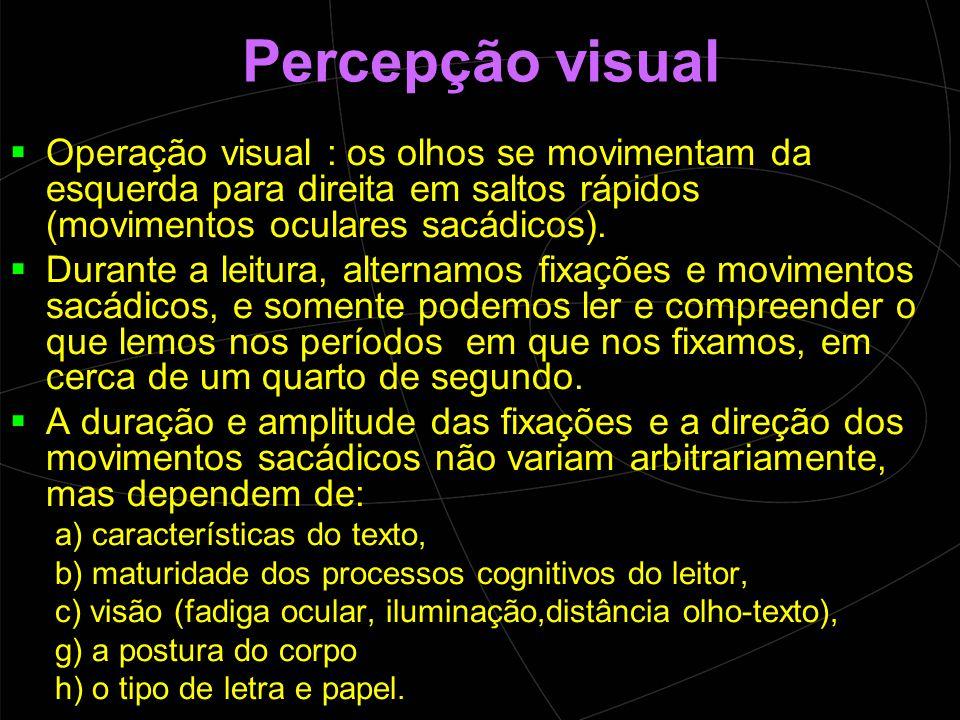 Percepção visual Operação visual : os olhos se movimentam da esquerda para direita em saltos rápidos (movimentos oculares sacádicos).