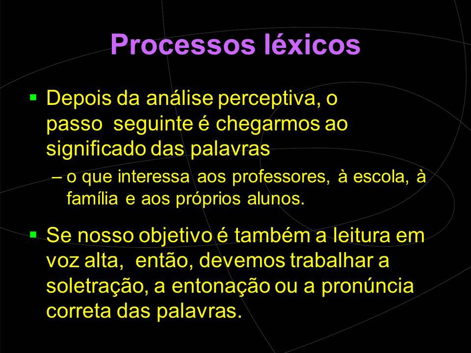 Processos léxicos Depois da análise perceptiva, o passo seguinte é chegarmos ao significado das palavras.