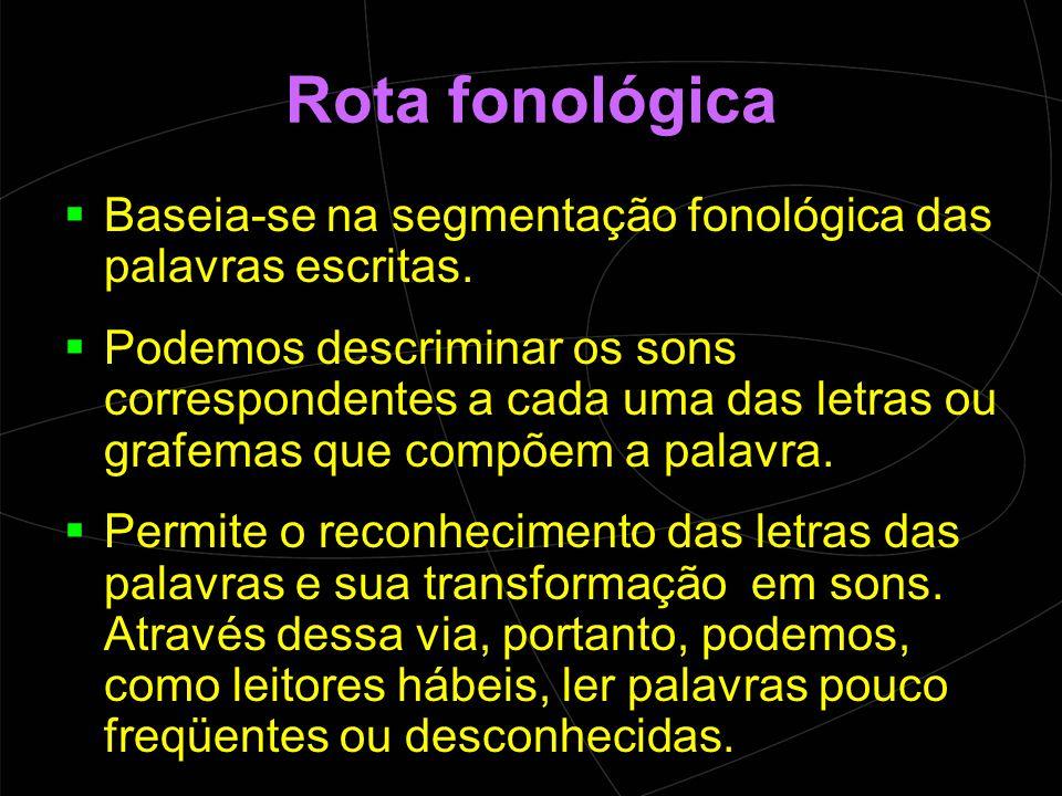 Rota fonológica Baseia-se na segmentação fonológica das palavras escritas.