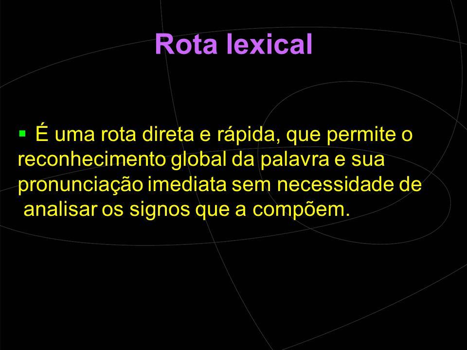 Rota lexical É uma rota direta e rápida, que permite o