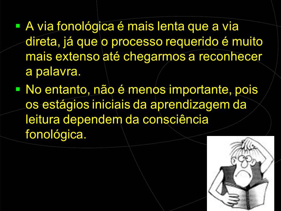 A via fonológica é mais lenta que a via direta, já que o processo requerido é muito mais extenso até chegarmos a reconhecer a palavra.