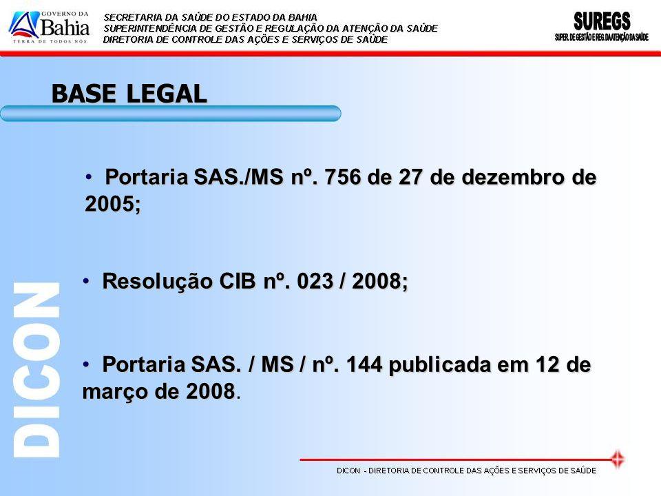 BASE LEGAL Portaria SAS./MS nº. 756 de 27 de dezembro de 2005;
