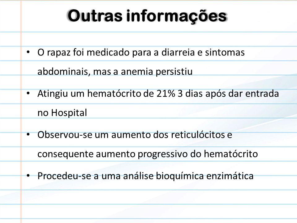 Outras informações O rapaz foi medicado para a diarreia e sintomas abdominais, mas a anemia persistiu.