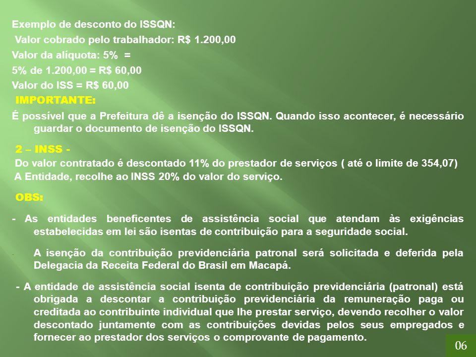 06 Exemplo de desconto do ISSQN: